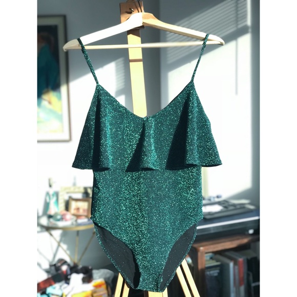 db7af3431f NWT Teal Zara glitter ruffle bodysuit M